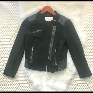 Maje | Black Leather Asymmetrical Biker Jacket S